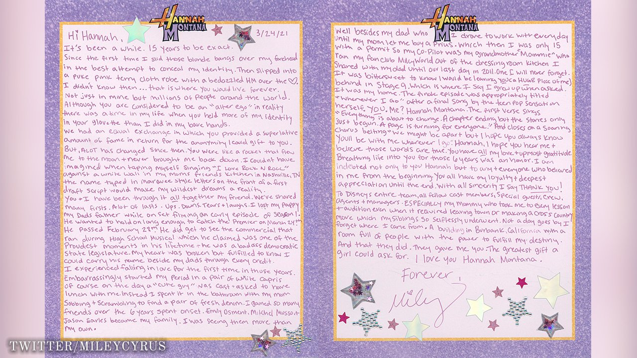 Miley Cyrus Pens Letter To Hannah Montana On 15th Anniversary