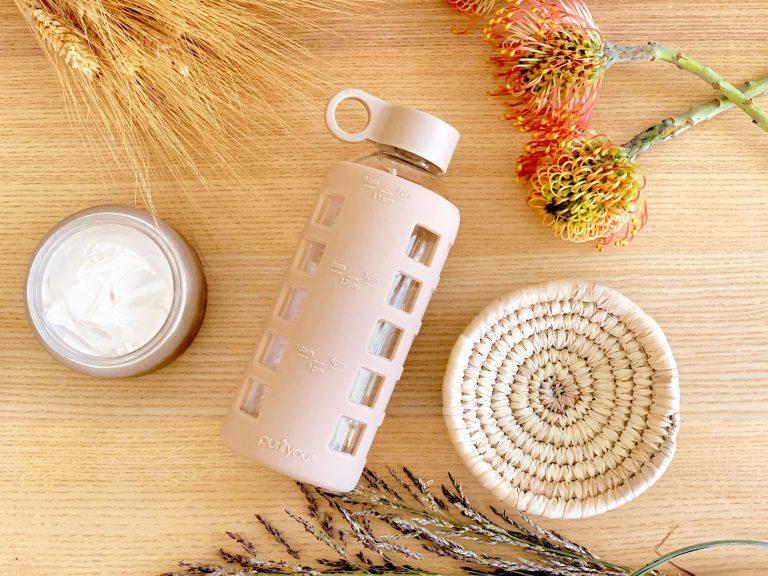 purifyou glass water bottle
